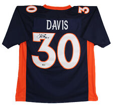 Broncos Terrell Davis HOF 17 Authentic Signed Navy Blue Jersey Autographed BAS