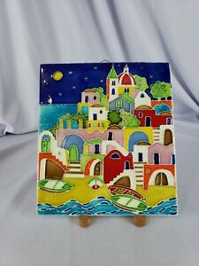 "Italian Seaside Villge Ceramic Tile Wall Hanging made in Italy 11×9.5"""