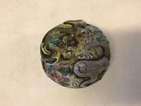 Vintage Antique Chinese Signed Porcelain Box w/ 2 Dragons & Waves Decoration