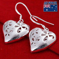 Stunning 925 Sterling Silver Heart Filled Hollow Filigree Flower Hook Earrings