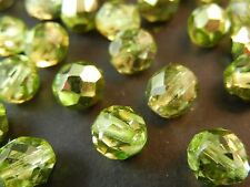 30Pc 8mm Lime Green Metallic Fire Polished Czech Glass Faceted Round Beads