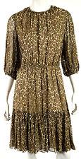 DEREK LAM Brown & Multi-Color Leopard Silk Georgette Pleated Dress 44