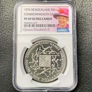 New Zealand $1 Silver 1974 Commonwealth Games NGC PF 69 Ultra Cameo KM# 44a TOP