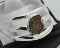 Wide & Heavy Solid 925 Sterling Silver Cuff Bracelet with Ammonite Fossil