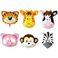 Large Animal Head Face Foil Balloons Farm Jungle Birthday Party Decorations