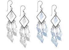 925 ECHT SILBER *** Ohrhänger Ohrringe 71 mm, Perlmutt weiß oder hellblau