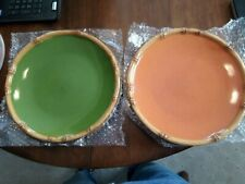 Lot of 4 Home Ipanema orange & Green center Dinner Plates