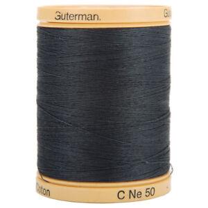 Gutermann 100% Natural Cotton Thread Solid 876yd Iron Grey Natural Fiber
