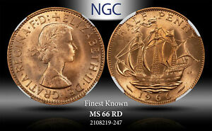 1966 GREAT BRITAIN 1/2 PENNY NGC MS 66 RD FINEST KNOWN