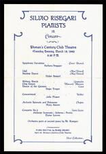 1940 Silvio Risegari piano recital concert program Seattle Washington