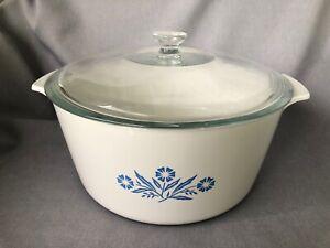 Vintage Corningware Rangetoppers 5 Quart with Glass Lid Blue Cornflower N-5-B