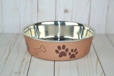 Loving Pets BELLA BOWL Stainless Steel LARGE Dog Feeder Bowl Champagne