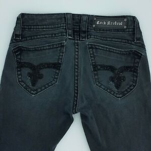 Rock Revival Amy Skinny Jeans Womens Sz 28 Black Wash Low Rise Inseam 31 Inches