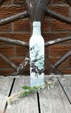 Shabby chic decoupage bottle, upcycled, handmade, blue floral