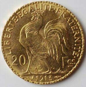 1913 France 20 Francs Gold Rooster