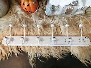 Wall hanger, Coat Rack, White Wood with Metal Hooks (BK0040)