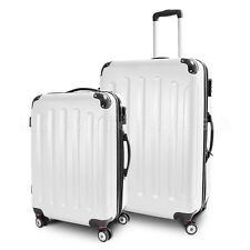 """Trolley Reisekofferset 2-teilig L + XL Koffer Reisetasche Modell """"STRIPES"""" WEISS"""