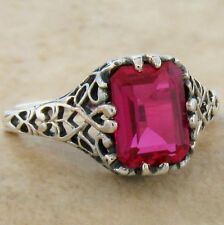Red Lab Ruby Ring, #820 Antique Filigree Design .925 Sterling Silver