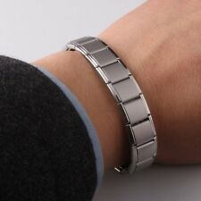 1X Unisex Lucky Bangle Stainless Steel Chain Germanium Magnetic Bracelet Jewelry