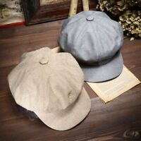 Women Men Linen Newsboy Cap Baker Boy Cabbie Gatsby Beret Flat Hats Cool Vintage