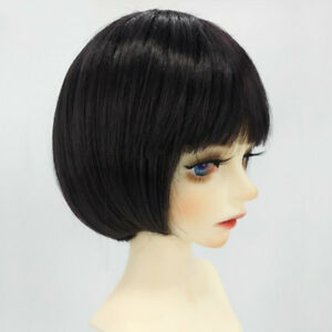 Dolls DIY Short Wig with Bangs Hair for 1/6 Doll Wig Accessory Black Brown