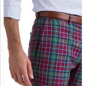 NWT $125 Vineyard Vines Leddy Park Fall Holiday Plaid Slim Pants 28x32 Mens/Boys
