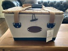 Mercedes Benz Picnic Time Canvas Wood Leather Basket - Brand New - Service for 2