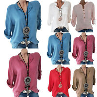 Plus Size Womens Baggy Gypsy Shirt Pocket Long Sleeve Tunic Formal Blouse Tops