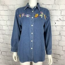 Rare Vtg Disney Women's Shirt S Winnie The Pooh Embroidered Ribbed Long Sleeve