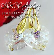 Gold Plated 925 Silver Earrings Crystals From Swarovski® HEART White Patina 14mm