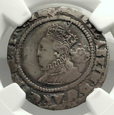 1570 ENGLAND Great Britain UK Queen ELIZABETH I Silver 6 Pence Coin NGC i76576