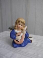 Goebel Weihnachtsengel, blau mit Laute als Kerzenhalter