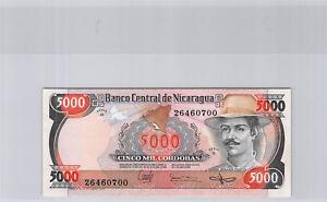 Nicaragua 5000 Cordobas 1985 Series G N° 26460700 Pick 146