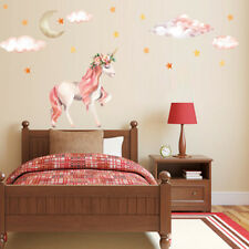 Cute Unicorns Moon Cloud Wall Stickers Nordic Style Room Decor DIY Wall Decal ^D
