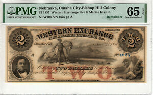 1857 $2 WESTERN EXCHANGE BISHOP HILL OMAHA NEBRASKA OBSOLETE NOTE PMG GEM 65 EPQ