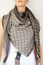 GUCCI Schal Tuch mit GG Muster 140x140 cm Wolle/Seide braun NEU 281942