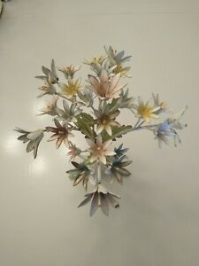 Vintage Toleware Metal Flowers Centerpiece Made in Italy