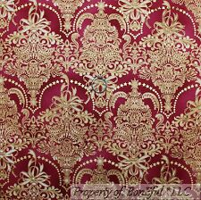 BonEful Fabric Fq Cotton Quilt Maroon Gold Metallic Flower Xmas Damask Star Girl