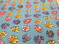 "Azul Cielo ""Pétalos"" Estampado Floral polialgodón Tela HECHO EN Canadá. 137cm"