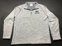 Champion Michigan Wolverines Mens Gray Long Sleeve 1/4 Zip Jacket Size Medium