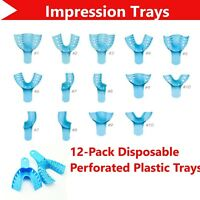 Dental Perforated Plastic Impression Trays Autoclave (CHOOSE SIZE) (1 Bag of 12)