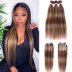Bone Straight Highligh Bundles Closure Brazilian Hair Weave Human Hair Remy Hair