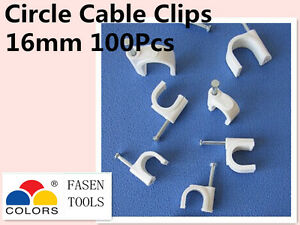 100Pcs 16mm Circle White Cable Clips Cable Plastic Nail