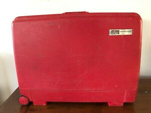 Vintage Delsey Club Hardside Red Suitcase with wheels24x18x8 Rolling Luggage