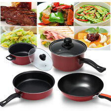 4Pcs Non Stick Cooking Cookware Stockpot Fry Pan Pot Set Refined Iron Kitchen