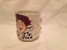 Vintage Mug JERRY FENTER Woman Decaf Coffee Drinker Hand Painted Signed