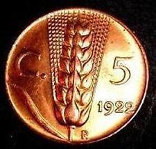 5 centesimi spiga 1922  FDC  ass. rosso  sig./periz.to