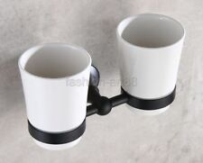 Oil Rubbed Bronze Bathroom Wall Mount Toothbrush Holder Dual Ceramic Cup Eba859