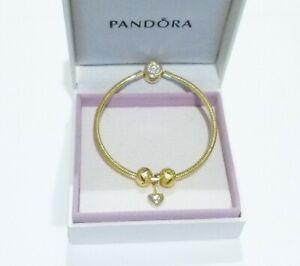 GENUINE Pandora Gold Bracelet, FREE Love Heart Charm & Beads -Valentine's GIFT