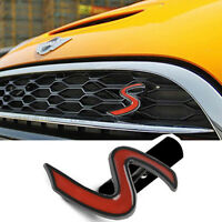 1 Pcs Red Black S Grill Grille Alloy Sticker Badge Emblem Fits For Cooper S238